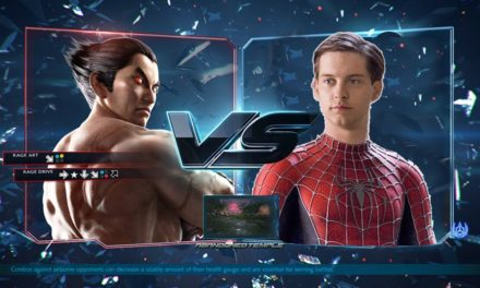 Kazuya Mishima throws Tobey Maguire off the cliff